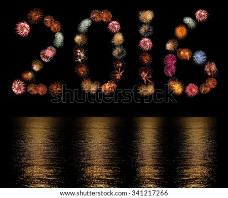 Firework Bursts Arranged as the Number 2016 with Reflections - stock photo