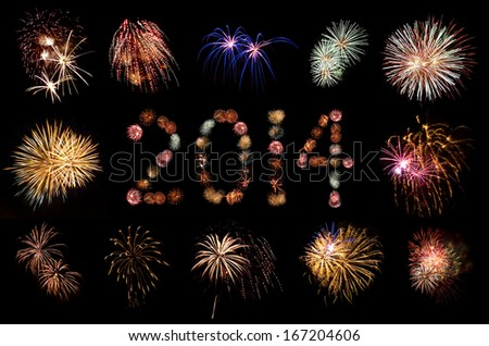 Firework Bursts Arranged in 2014 and Framed - stock photo