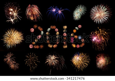 Firework Bursts Arranged in 2016 and Framed - stock photo