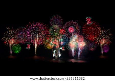 Firework celebration at the beach, Hua Hin, Thailand. - stock photo