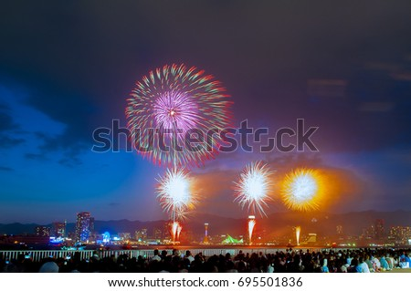 Firework festival with twilight at kobe port in Japan.