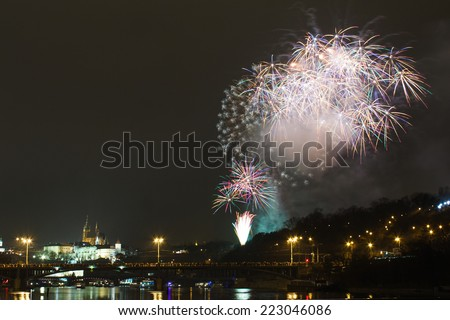 Firework for celebrating New Year with Prague Castle - stock photo