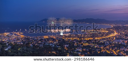 Firework in Cannes. 14th july 2015 , French national day - stock photo