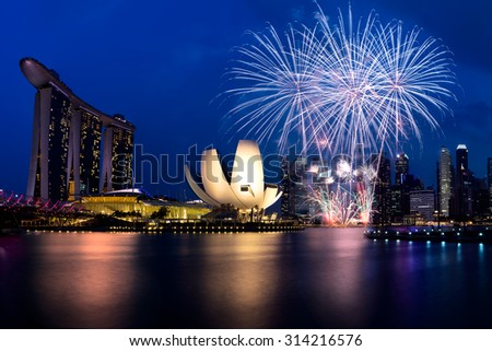Firework in 50SG festival, Marina bay Singapore, Singapore city skyline. - stock photo