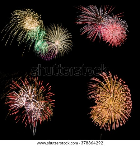 Firework isolated in black background