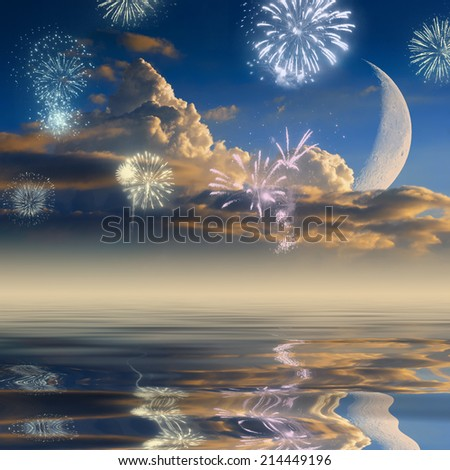 Firework on a sky with beautiful clouds and rising moon, reflected in water - stock photo