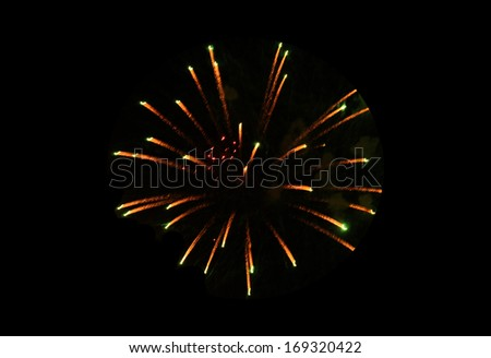 firework on black background - stock photo