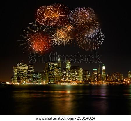 Firework over new york - stock photo