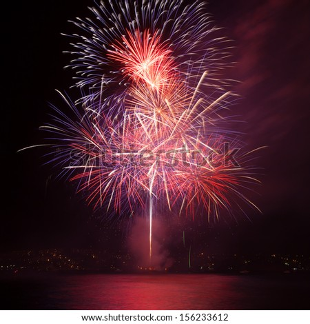 Firework over the water in the night sky  - stock photo