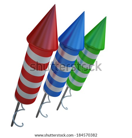Firework rockets isolated on white background High resolution  3d render  - stock photo
