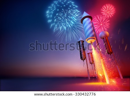 Firework Rockets Launching. Sparks flying from a firework rockets lit fuse. Fireworks and celebrations illustration. - stock photo