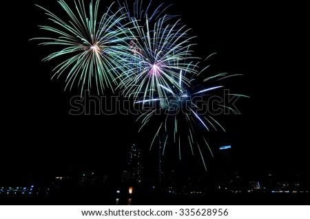 Fireworks a night sky - stock photo