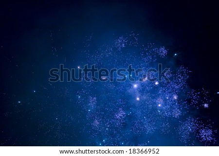 Fireworks abstract blue background - stock photo