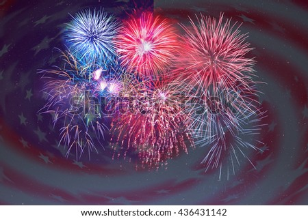 Fireworks and American flag background. 4th of July beautiful fireworks. Independence Day holidays salute. 4th of July background - stock photo