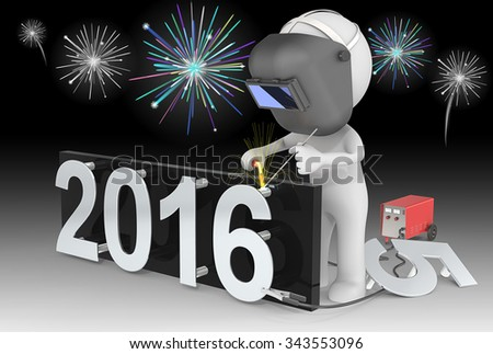 Fireworks and Happy New Year. Dude 3D character The Welder changing number on New Year from 2015 to 2016.  Fireworks on black sky.