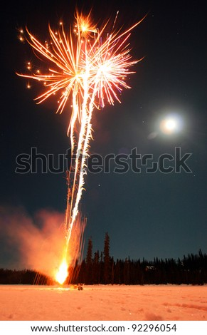 Fireworks And Moon - stock photo