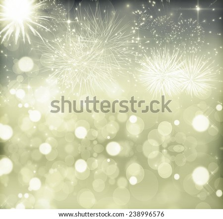 Fireworks at New Year and copy space - stock photo