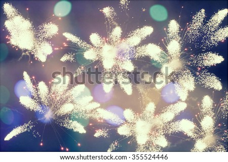Fireworks at New Year and copy space - abstract holiday background - stock photo