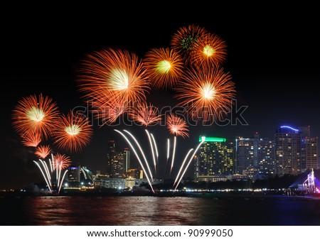 Fireworks at Pattaya City, Chonburi,Thailand - stock photo