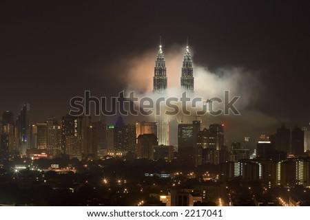 Fireworks at Petronas Twin Towers, Kuala Lumpur, Malaysia. - stock photo