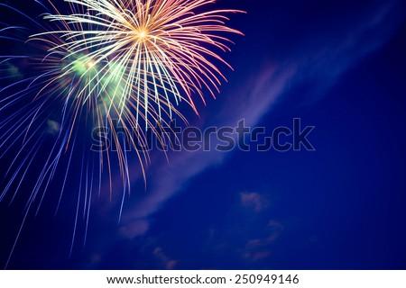 Fireworks at twilight  - stock photo