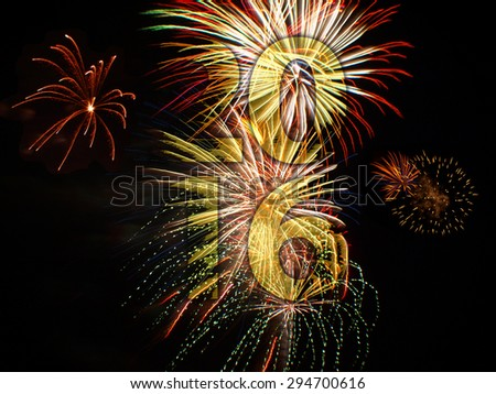 fireworks background for new years eve in 2016 and other celebrations - stock photo
