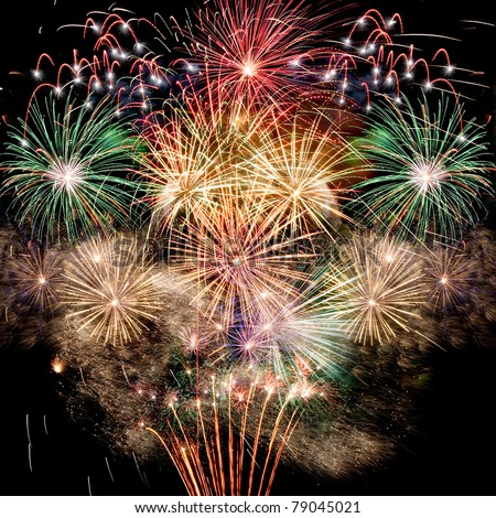 Fireworks Beautiful fireworks background for new year and other celebrations - stock photo