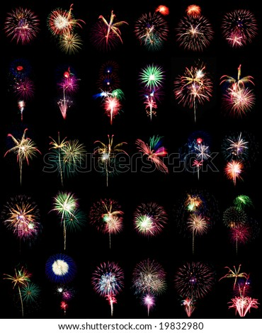 Fireworks big collection volume 2. Thirty compositions isolated on black. - stock photo