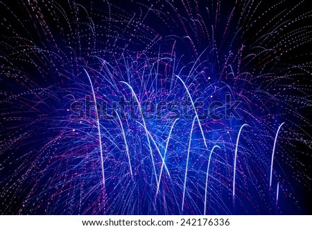 Fireworks, blue fireworks, A Spark of black background - Computational graphic, Fireworks light up the sky with dazzling display - stock photo