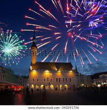 Fireworks celebrating over the Town hall square. Tallinn. Estonia. - stock photo