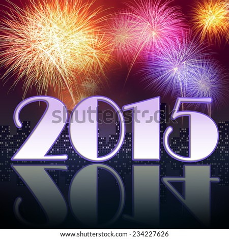 Fireworks celebrating the New year of 2015 with old year reflection on the ground - stock photo