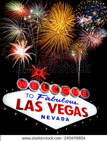 Fireworks celebration and Fabulous Las Vegas Sign  - stock photo