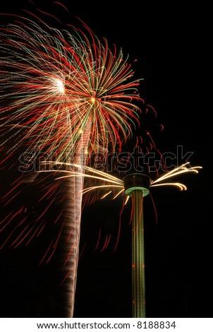 Fireworks celebration in downtown at Hemisfair Plaza, San Antonio Texas. - stock photo