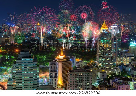 Fireworks celebration In the business district of Bangkok nightlife. - stock photo