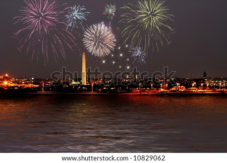 fireworks celebration over washington dc skyline - stock photo