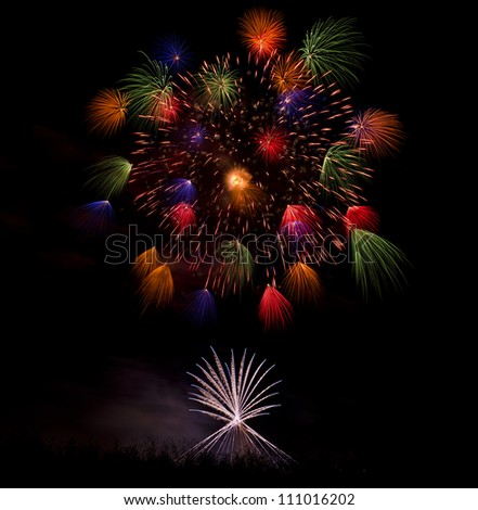 Fireworks Display for the Feast of Saint Mary in Mqabba - Malta - stock photo