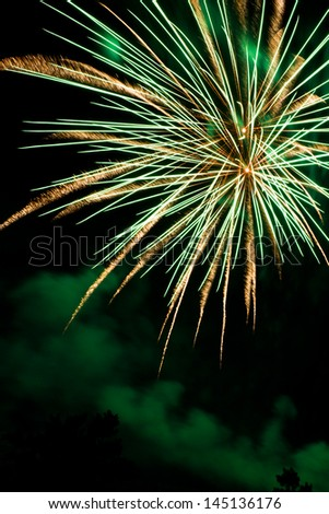 fireworks display on the night sky welcoming a new year - stock photo