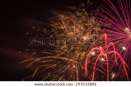 Fireworks display on the 4th of July Holiday in Milwaukee, WI - stock photo