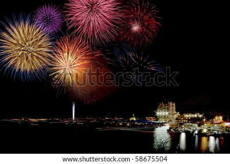 fireworks display over a lake