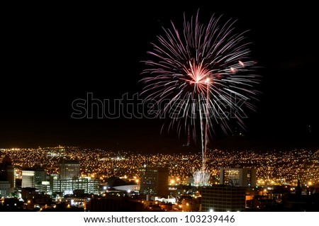 Fireworks display over El Paso, Texas skyline.