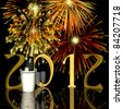 Fireworks displayed behind a 3D 2012, bucket of champagne and two glasses. - stock photo