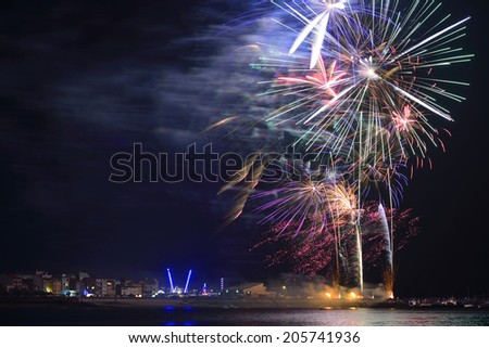 fireworks evening parties in the night - stock photo
