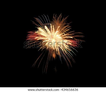 Fireworks explode, fireworks on black background, texture. Beautiful fireworks, fireworks background,isolated - stock photo