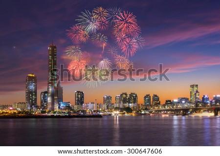 Fireworks Festival and Seoul City, South Korea. - stock photo