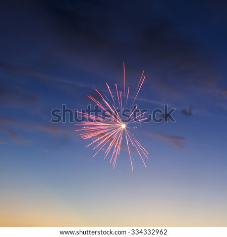 Fireworks Five - Five Fireworks Blast at 4th of July celebration in the United States - stock photo