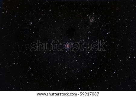 Fireworks Galaxy and Cluster NGC 6939 - stock photo