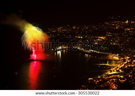 Fireworks in Funchal, Madeira Island, Portugal - stock photo