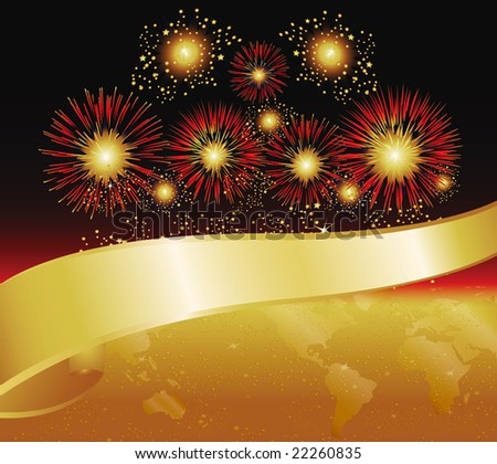 Fireworks in Gold and Red. Features World Map and Banner. - stock photo