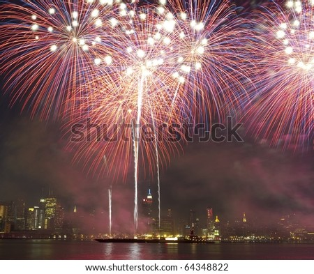 Fireworks in New York City - stock photo