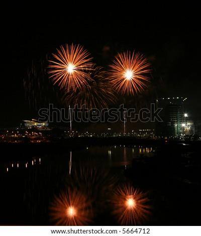 Fireworks in Putrajaya. - stock photo